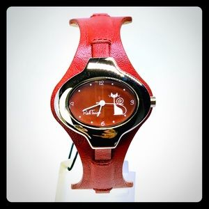 Cute Vintage Style Red Kitty Watch